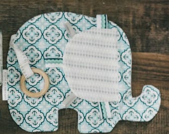 Elephant Taggie Teether/Natural Wood Teether/Taggie Blanket/Elephant Baby Toy/