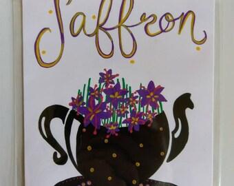 Saffron Tea Embellished Print