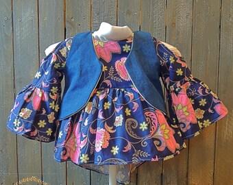3T Navy Blue Floral Boho Tunic Top with Denim Vest