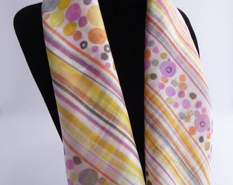 """Jaipur"" hand-painted silk shawl scarf"
