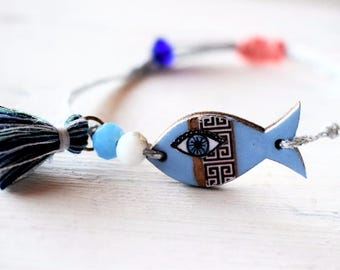 Light blue Bracelet , Fish Light Blue Bracelet