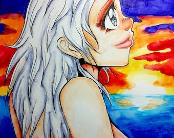 "9x12"" Art Original - ""Isla and Sunset"" - Anime/Manga Art Watercolor Painting"