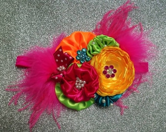 Rainbow headband  Couture Headband
