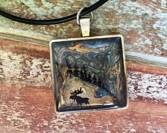 ON SALE Hand-painted Northern Lights Moose pendant Necklace