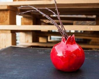 Red ceramic (pottery) pomegranate vase, statuette, home decor