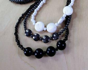 Onyx Hematite Marble Three Strand