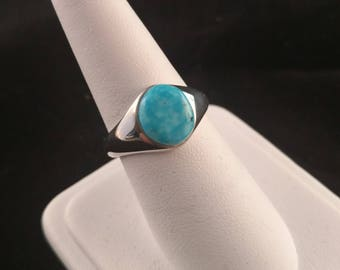 Blue turquoise ring in sterling silver setting