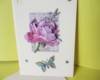 Card 3D (raised) flowers and Dragonfly