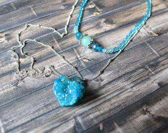 Blue Mystic Bohemian Necklace, Blue Mystical Stone Necklace, Aqua Crystal Beaded Necklace Boho