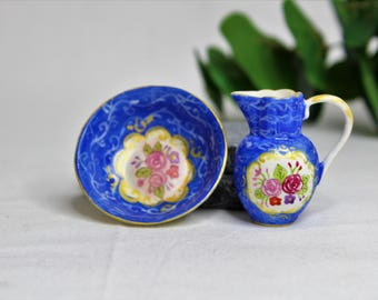 Dollhouse Miniature Pitcher and Bowl, Semi Matte Finish Porcelain, Hand Painted with Rose Design, Gold Trim, Vintage Style