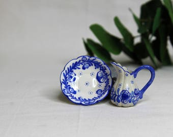 Dollhouse Miniature Pitcher and Bowl, Semi Matte Finish Porcelain, Hand Painted with Blue and White Floral Design, Vintage Style