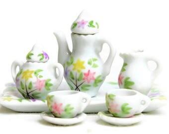 Dollhouse Miniature Gloss Porcelain Tea Set, Hand-Painted Yelllow Pink Flower Design, Miniature Fairy Garden Tea Set, DIY Jewelry Supplies