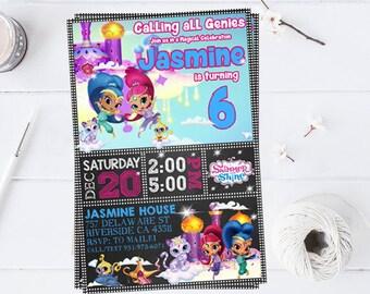Shimmer And Shine Invitation, You Print Invitation, Shimmer And Shimer Birthday, Shimmer And Shine Birthday Party Invitation