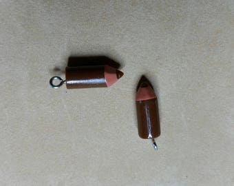Brown coloured pencil charm