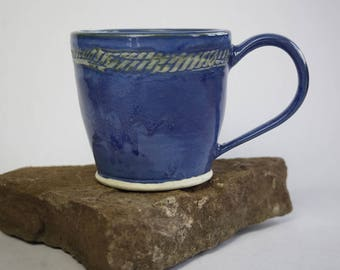 handmade Blue mug with Relief design