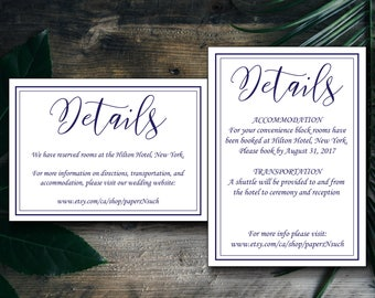 Navy Blue and White Modern Simple Elegant Wedding Details Template,  DIY Instant Download OR Printing Services
