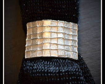 Silver Rectangle Patchwork Scarf Tie/Slide - Silver Precious Metal Clay (PMC), Handmade, Scarf Tie, Slide - (Product Code: ACM101-17)