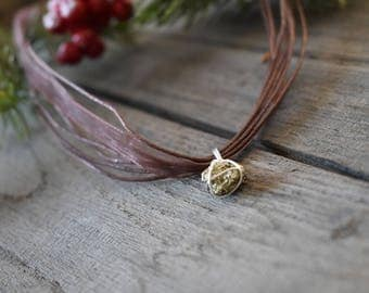 Celebrations - iron pyrite and Brown rope necklace