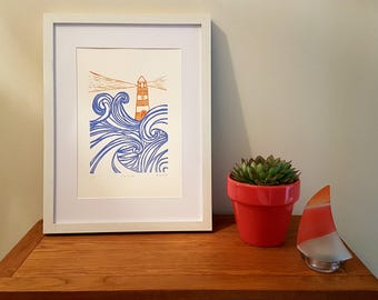 Lighthouse - Lino Print