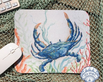 Blue crab mouse pad | Blue crab art | Coastal mouse pad | Nautical mouse pad | crab gift | Kate McRostie | Coastal office | Beach office