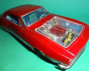 Vintage BANDAI MUSTANG? PLYMOUTH? Tin Toy Car with Transparent Engine Bonnet Hood, Japan 1960's