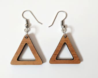 Laser cut bamboo drop earrings, triangles