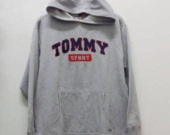 On SALE!! TOMMY HILFIGER Vintage Tommy hilfiger Hoodies Design Spell Out Big tommy sport nice Design hoodies