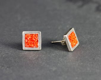 Square Silver earrings coral