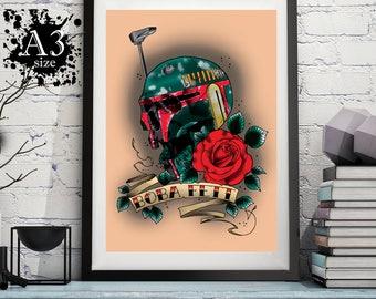 A3 - Boba Fett Skull Tattoo Print