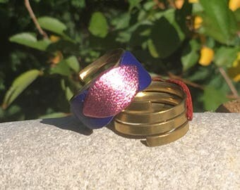 Pink and blue leather and brass by lesbijouxdelilie ring
