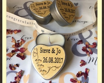 Personalised Scented Soy Candle Wedding Favours (10) - Golden