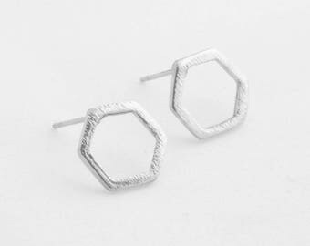 "Geometric earrings ""Hexagon"" silver"