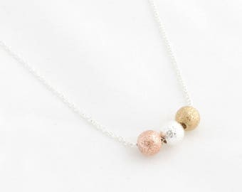 """Beads Necklace """"Tricolor Balls"""" silver"""