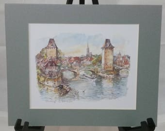 Strasbourg Ready-To-Frame Matted Watercolor Print