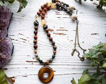 tigers eye necklace, beaded gemstone necklace, crystal necklace, gemstone necklace, jasper necklace, boho necklace, chakra necklace, healing