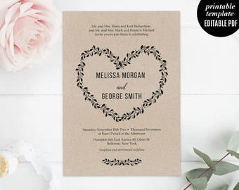 Kraft Paper Wedding Invitation Template, Printable Wedding Invitation Set, Rustic Wedding Invitation, RSVP, PDF, Download Modern Calligraphy