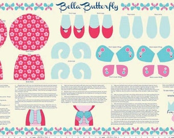 Flutterberry Panel Pink Butterfly Doll by Riley Blake Designs P4592-pink