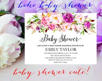 Floral Baby Shower Invitation, It's a Girl Shower Invite, Bridal Shower Card, Floral Baby Shower, Boho Girl Baby Invite, Instant Download.