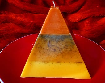 Essence of Fire: Sage and Dragonsblood Large Beeswax Pyramid Candle