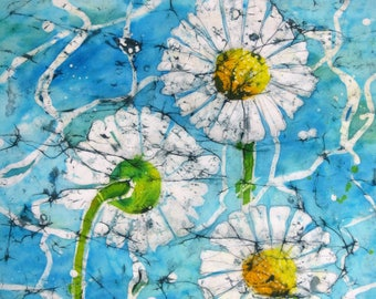 Daisies by water - Signed print from an original batik, 40 cm x 30 cm