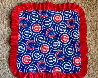Cubs Lovey Blanket, Chicago Cubs Satin trim, Chicago Cubs Lovey, Cubs Security Blanket, Ribbon Blanket, Cubs Baby Shower Gift