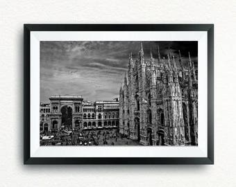 Poster Milan Cathedral and Vittorio Emanuele Gallery in black and white, canvas, print, print, canvas.