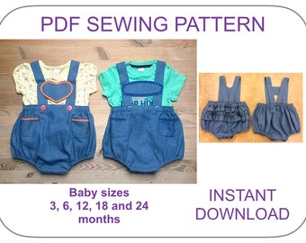 BABY lederhosen bloomers pattern. PDF pattern. Romper, bloomer, diaper cover pattern for babies. Baby overall pattern. Baby shorts pattern.
