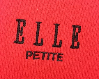 Vintage 90's ELLE Sweatshirt Pullover Crewneck Red Color Size 150