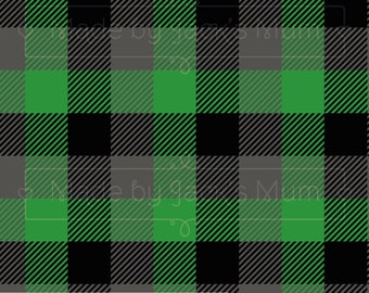 Green/Grey/Black Plaid French Terry (280gsm, 94/6 Cotton/Elastane) *UK*