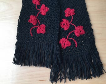 Black Scarf with Red Design