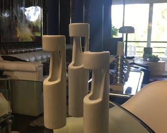 PANTON ERA Space Age  porcelain candlesticks in white ceramic     Mid Century Modern