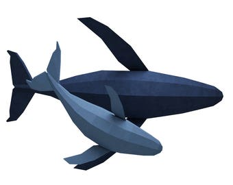 Paper crafts etsy papercraft whale 3d family of whales paper model paper sculpture paper craft animals pronofoot35fo Choice Image