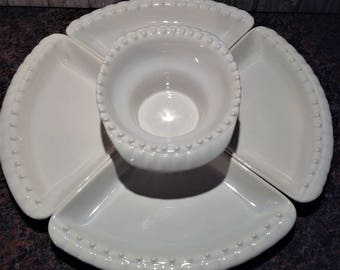 vintage california pottery lazy susan serving set whittier potteries divided serving tray snack plates
