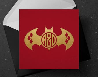 Wedding Monogram | Batman and Harley Quinn Monogram - Personalised Custom Wedding Initials - Comic and DC Universe Inspired Logo